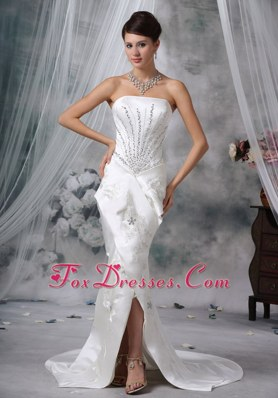 Mermaid Wedding Dress Strapless Court Train Satin Beading Slit