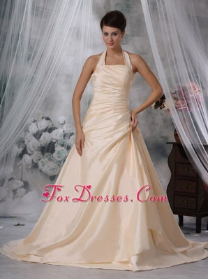 Champagne Ruched Wedding Dress A-Line Halter Court Taffeta