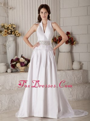 Sexy A-line Wedding Dress V-neck Design