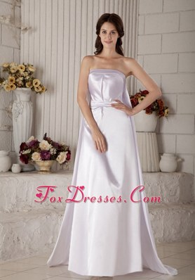 Wedding Dress For Exclusive Column Brush Satin Ruch