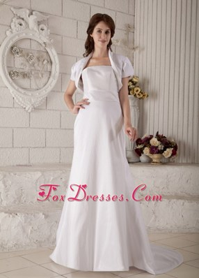 Modest Satin Wedding Dress A-line Strapless Court Train