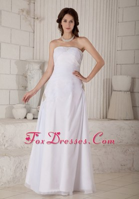 Simple Column Strapless Chiffon Beading Wedding Dress Ruched