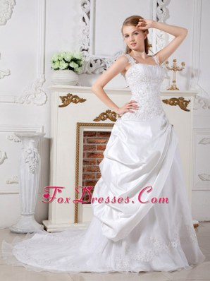 Court Train Bridal Wedding Dress A-line Straps Taffeta Lace