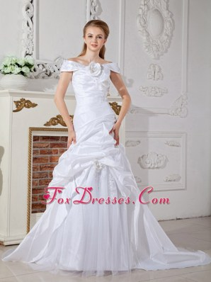 Off The Shoulder Wedding Dress Court Train Hand Made Flowers