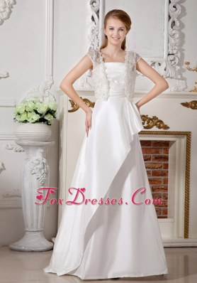 Popular Wedding Dress A-line Brush Satin Beading Bowknot