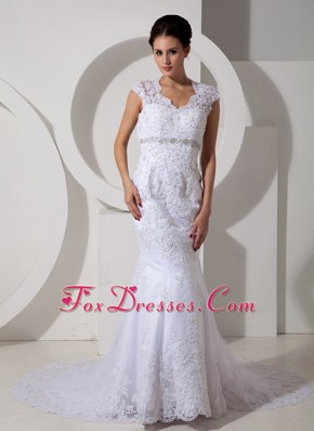 Lace Beading Wedding Dress Mermaid Square Neck Court Train