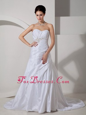 Discount A-line Sweetheart Appliques Ruch Wedding Dress Court