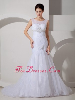 Pretty Mermaid Scoop Court Tulle Appliques Wedding Dress Ruch