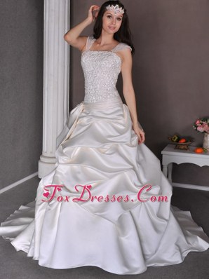 Pick-ups Bridal Dress Chapel Train Taffeta Straps