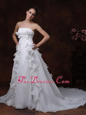 Bowknot Strapless Organza Ruffles Wedding Dress For Cheap
