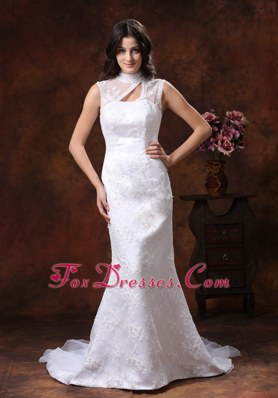 High Neck Wedding Bridal Dress Mermaid Embroidery Organza