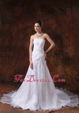 Organza Embroidery Over Skirt Bridal Dress Court Train Strapless