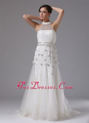High-neck Bridal Dress Lace Tulle Brush Train Column Beading