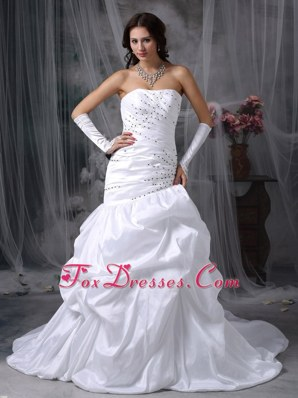 Appliques Bridal Dress Brush Train Strapless Taffeta Mermaid