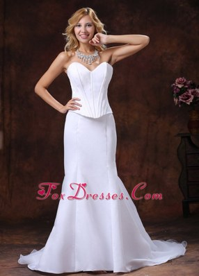Simple Mermaid Court Train Wedding Dress For Custom Made