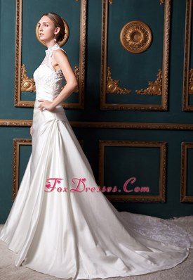Modest High-neck A-line Chapel Train Lace Bridal Gown