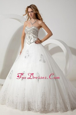 The Super Hot Sweetheart Court Train Organza Beading Wedding Gown