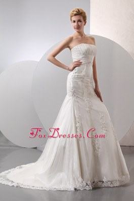 Discount Mermaid Strapless Wedding Dress Court Train Lace and Appliques