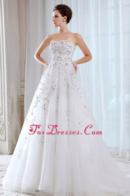 Sweet Tulle A-line Strapless Court Train Beading Wedding Dress