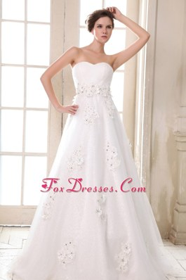 Affordable Sweetheart Beading Appliques A-line Brush Train Wedding Dress