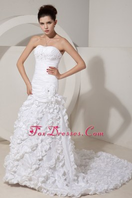 Exquisite Strapless Court Train Bridal Dress Beading and Ruch