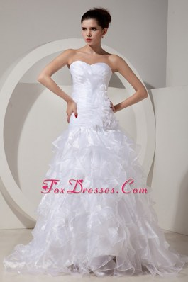 Romantic A-Line Wedding Bridal Gown Strapless Tulle Appliques