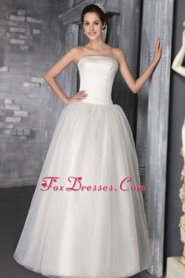 Beautiful Floor-length Princess Strapless Beading Bridal Dress