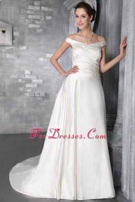 Latest Off The Shoulder Court Train Satin Pleat Wedding Dress