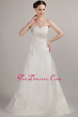 Memorable A-line Strapless Bridal Gown Beading Embroidery