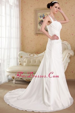 Fabulous Princess Straps Court Train Organza Beading Wedding Dress