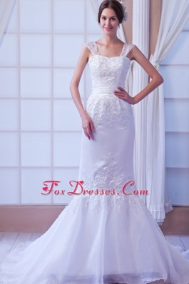 Exquisite Mermaid Court Train Wedding Gown with Straps
