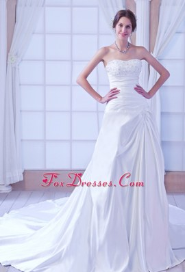 Romantic Chapel Train Taffeta Beading Wedding Bridal Dress