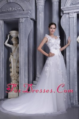 Latest A-line Square Court Train Lace Wedding Dress