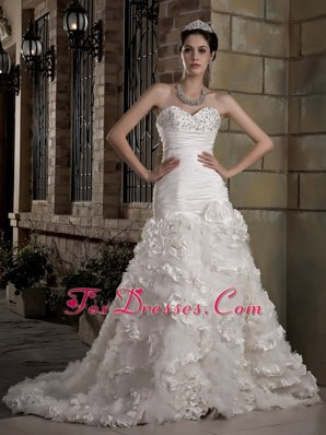 Gorgeous Sweetheart Taffeta and Tulle Beading Wedding Gown
