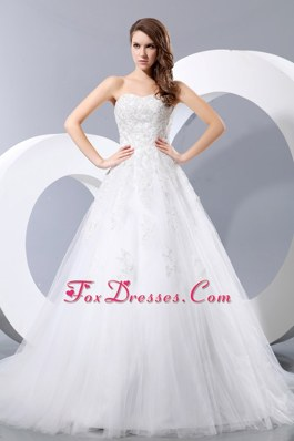 Simple Sweetheart Princess Chapel Train Wedding Dress