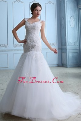 Lovely Mermaid Straps Brush Train Lace Bridal Gown