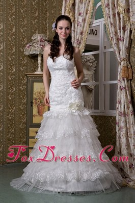 Impressive Trumpet Swetheart Brush Train Lace Layers Bridal Gown