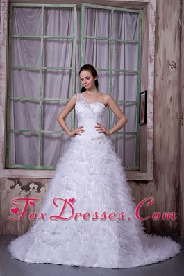 Stylish A-line One Shoulder Tulle Wedding Bridal Gown