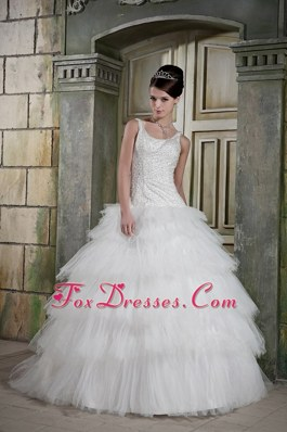 Noble Scoop Layered Ball Gown Beading Bridal Gown