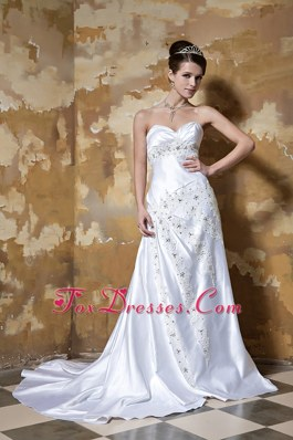 Dazzling Column Sweetheart Pearls Dress For Wedding