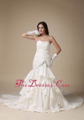 Gorgeous Trumpet Sweetheart Ruched bodice Layers Wedding Gown