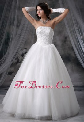 Extravagant Beaded Decorate Bodice Tulle Wedding Gown