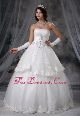 Beaded Decorate Girly layered Ball Gown Wedding Dress