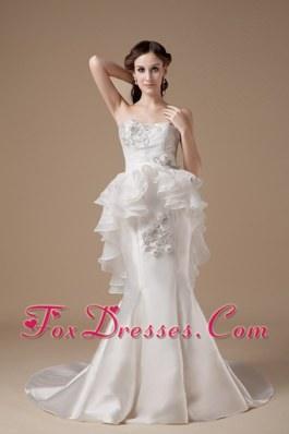 Special Mermaid Satin and Organza Wedding Gown