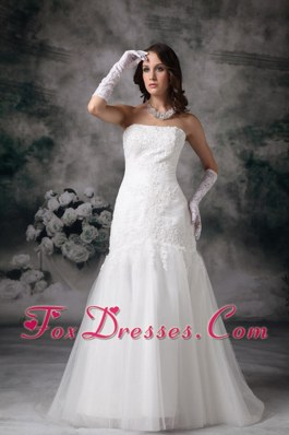 Best Wedding Gown Brush Train Lace Tulle Strapless