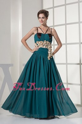 Straps Hand Made Flowers Teal Prom Evening Dress