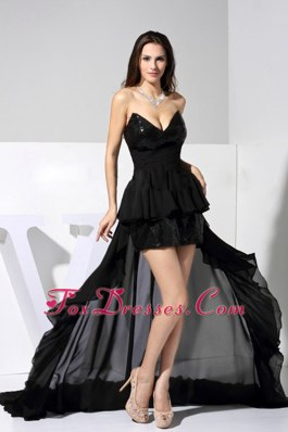 High-low Black Prom Dress Sequin Chiffon Sweetheart