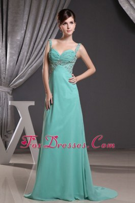 Turquoise Straps Beadng Ruch Brush Train Prom Dress