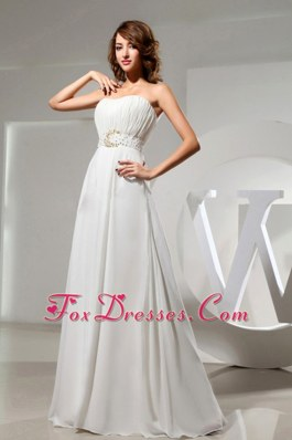 Simple Wedding Dress Beaded Waist Ruch Bodice in Summer