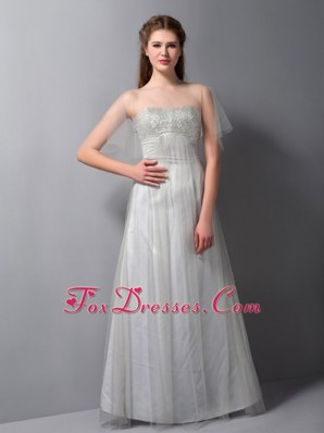 Silver A-line Prom Dress Strapless Floor-length Beading
